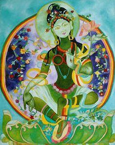 Green TARA Principe féminin de la libération, perfection de la sagesse, mère des bouddhas, protectrice du Tibet, tara est la plus grande dame-yidam du panthéon tibétain. Archétype de la féminité, Tara a pu être acceptée en tant que bouddha féminin grâce...