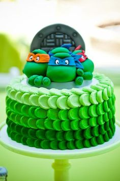 Hostess with the Mostess® - Teenage Mutant Ninja Turtle Party LOVE this cake! Turtle Birthday Parties, Ninja Turtle Birthday, Ninja Turtle Party, Ninja Turtles, Birthday Cake, Ninja Turtle Cakes, Ninja Cake, Third Birthday, Mutant Ninja