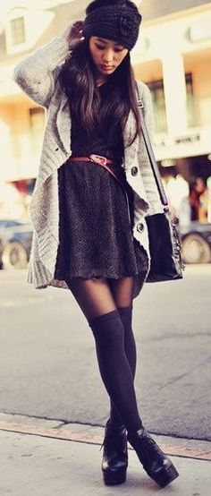 How to wear a dress during Winter.