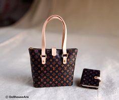 Louis Vuitton Handbags (No.4)with diary for women Artisan handmade 1/12 Dollhouse Miniatures