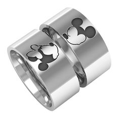 Mickey minnie ring, mice rings, mickey minnie bands, valentine's day silver band rings, 14k white gold band ring, couple band rings