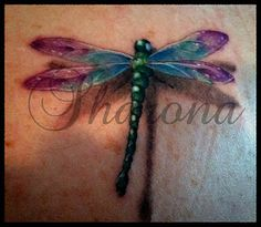 Dragonfly Tattoo...like the coloring on this one without it looking too cartoon-ish. They are the spirit animal representing change & adaptability