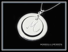 Initial Necklace,  Initial Disk Necklace, Personalized Sterling Silver Necklace, Monogrammed Necklace, Moms Necklace, Bridesmaid Necklace