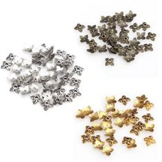 For Jewelry100pc Retro Silver/Golden/Bronze Metal With Hole Tone Leaf Bead Caps