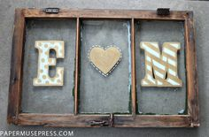 Old window turned monogrammed wall art. Pinned this 4 all the pincers that r crazy bout old windows ;)