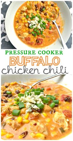 Slow Cooker Buffalo Chicken Chili is delicious, simple and award winning! This is the go-to when you are tired of boring chili recipes! Chili Recipes, Slow Cooker Recipes, Cooking Recipes, Healthy Recipes, Cooking Chili, Pressure Cooker Soup Recipes, Healthy Soup, Chili Food, Drink Recipes