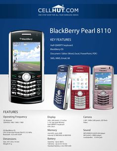 by Cellhut via Slideshare Blackberry Pearl, 1200 Calorie Diet Plan, Product Brochure, 1200 Calories, Tech, Pearls, Phone, Telephone, Beads