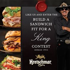 Enter the Kretschmar's Build a Sandwich Fit for a King Contest to win the Grand Prize: a trip for four to the Pure Michigan 400 NASCAR Sprint Cup Series race in Brooklyn, MI on August 18, 2013. The prize includes airfare, a three-night hotel stay, $1,600 spending money, $3,120 to help cover taxes, and a