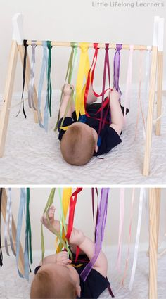 Sensory play ideas for babies   rainbow ribbon baby play   newborn, baby play idea   activities for playing with your baby   3 month old   6 month old   learning at home   exploring touch, feel, taste, small and sound   exploring the 5 senses