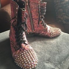 Steve Madden Rare spiked glitter combat boots These Multi colored glitter Steve Madden Spiked combat boots have all the latest fashions rolled into one boot! Steve Madden Shoes Ankle Boots & Booties