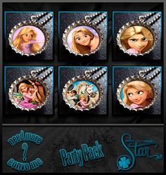 Rapunzel Party Pack  6 Bottle Cap Necklaces  by DesignsByLuckyStar, $12.00