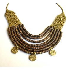 Ethnic Tribal Coconut Macrame Necklace with brass gold brown Goa Gypsy... ($57) ❤ liked on Polyvore featuring jewelry, necklaces, gold pendant necklace, brown necklace, collar necklace, bohemian necklaces and gold collar necklace