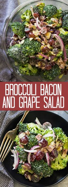 This Broccoli Bacon and Grape Salad combines crisp broccoli, crunchy bacon, sweet red grapes all in a creamy dressing. | www.countrysidecravings.com