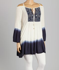 Highness NYC Navy Embroidered Ombré Tunic - Plus | zulily