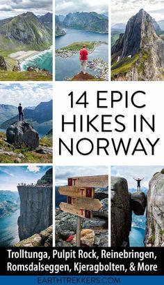 Best Norway Hikes, including Trolltunga, Pulpit Rock, Kjeragbolten, Romsdalseggen Ridge, Reinebringen, Ryten, Segla, Hiorthfjellet, Besseggen Ridge and more. #norway #hiking #besthikes #adventuretravel