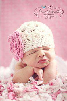 3-6 months Crochet Girls Newborn Hat, Ecru and Pink Flower Beanie Baby Hat. $18.50, via Etsy.