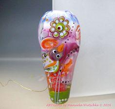 Lampwork Glass Focal Bird Bead, May, Pink, Jewelry, Artist handmade lampwork glass bead - Glassartist Manuela Wutschke