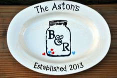 Monogrammed personalized ceramic serving platter by Mudcakes, $68.00
