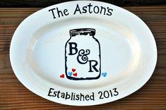 Monogrammed personalized ceramic serving platter elegant great wedding or anniversary gift on Etsy, $72.00