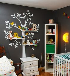 Shelving Tree Wall Decal - Nursery Decor