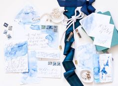 Blue Watercolor Calligraphy Wedding Invitations Moira Design Studio