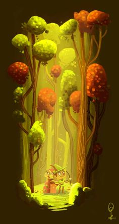 gilli-bean.blogspot.fr -  1. Thick lines and 2D shapes done with rough, loose brushes give the image a gentle fine-art touch. Nature seems to be the most special element here, emphasized by the light. Made almost completely with 2 complementary colors, and a few other supporting tones. 2. The whole vertical group is very cohesive and strong, result of the color palette choice and use of light. 3. Perfect to depict a beautiful, solemn moment - maybe with some flute song in the back...? :)