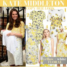 Kate Middleton in white and yellow floral print dress #katemiddleton #duchessofcambridge #floral #dress #yellow #white #jennypackham #princess #cambridge #baby #royal #family #spring #summer