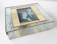 Picture & invitation for E&A's 1st anniversary. Stained Glass Keepsake Memory Box 50th Wedding by GaleazGlass, $155.00