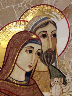 María y José Religious Icons, Religious Art, Mosaic Portrait, Byzantine Icons, Holy Mary, Painting Studio, Catholic Art, Blessed Mother, Sacred Art