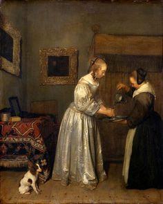 Gerard ter Borch, Eine Dame, die sich die Hände wäscht (ca. 1655, Gemäldegalerie Alte Meister, Dresden)