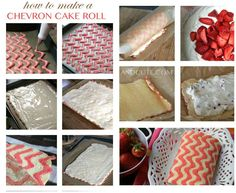 How to make a Chevron Zig Zag Cake Roll filled with whipped white chocolate and strawberries!