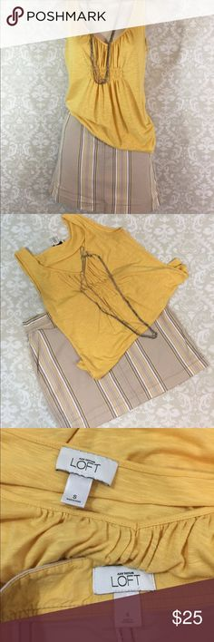 Ann Taylor Loft Summer Skirt and Top Set Sz S/4 Fun Summer Outfit.  Tan Yellow and Black skirt from Ann Taylor Loft Sz 4 with matching Sz S Tank top.  Previously worn, cared for and loved.  Excellent condition.  Thanks for shopping my closet! Ann Taylor Skirts Mini