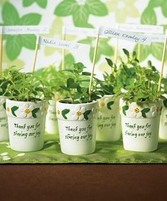 Let your guests go home with their very own flower pot.  Herbs, flowers or even a candle. #EcoPartyTime #SpringWeddings