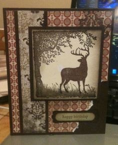 Nice choice of papers for a masculine card using a scenic silhouette of a buck.