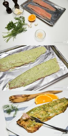 Baked Herbed Salmon. Combine 4 Tbsp butter, 3 Tbsp dill, 1 Tbsp parsley, 3 crushed garlic cloves, 1/4 cup parmesan and juice from 1/2 orange (Substitute 1 lemon for orange and place sliced lemon on top/under salmon to bake). Apply a layer of herbed butter to each fillet, season with salt and pepper. Bake it at 415F, for about 15 minutes.