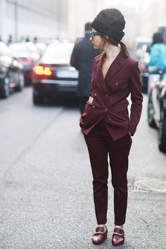 Smart suiting. #Streetstyle #MFW Fall 2014