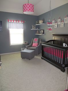 Nursery idea with navy blue and hot pink. Beautifully modern! http://www.butterbeansboutique.etsy.com