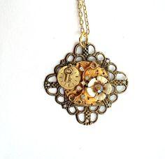 "Victorian Steampunk Necklace  ""Sic Transit Gloria Mundi"" by TimeMachineJewelry"