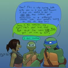 Wtf, Liz and Leo meets their teenage son in their teenage years? What in the Duck? Ninja Turtles Art, Teenage Mutant Ninja Turtles, Ninja Turtle Bedroom, Tmnt Swag, Tmnt Comics, Dc Comics, Turtle Tots, Leonardo Tmnt, Miraculous Ladybug Funny