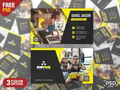 Hello everyone. This is a Free Fitness Gym Trainer Business Card PSD. This Fitness Gym Trainer Business Card PSD is a specially designed for Muscle & Fitness, Gym, Sport, Wellness or Bodybuilding Clubs. Gym Trainer, Free Business Cards, Muscle Fitness, Hello Everyone, Gym Workouts, Trainers, Free Fitness, Photoshop