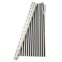 kate spade new york Reversible Gift Wrap - Gold Dots/Black Stripe - Wrapping Paper Rolls, Gift Wrapping, Wrapping Ideas, New York Papers, Happy Birthday Jesus, 10th Birthday, Bazaar Ideas, Paper Lace, Gift Bows