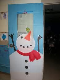 I would add falling snowflakes made by the kids.Winter snowman classroom door decoration #bulletinboard
