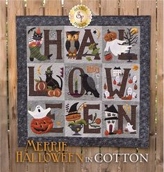 "Merrie Halloween BOM - Cotton - Laser-cut: Get your home ready for Halloween with this adorably spooky Merrie Halloween Quilt! This quilt features pumpkins, crows, owls & GLOW IN THE DARK GHOSTS! Finishes to 42"" x 42"""