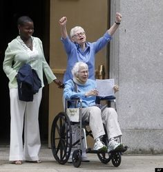 Manhattan's first legally married same-sex couple: Phyllis Siegel, 77 (raised arms) and Connie Kopelov, 85. They have been together for 23 years, and now they are JUSTLY MARRIED. There are no words.