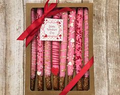 Valentine's Day Chocolate Covered Pretzel Rods, Chocolate Pretzels Gift Box - Ready to Ship Valentine Desserts, Valentines Bakery, Valentines Day Chocolates, Valentine Chocolate, Valentine Cake, Valentines Day Treats, Kids Valentines, Chocolate Covered Pretzel Rods, Chocolate Covered Treats