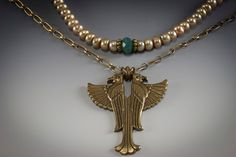 Egyptian Horus Statement Necklace Egyptian by HutaPearlJewelry, $85.00