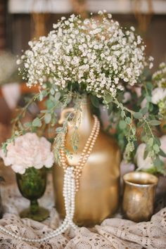 Baby's breath centerpiece / Marcie Meredith Photography a simple but beautiful centerpiece Pearl Centerpiece, Candle Centerpieces, Wedding Centerpieces, Wedding Table, Rustic Wedding, Wedding Decorations, Wedding Vintage, Centrepieces, Beauty And More