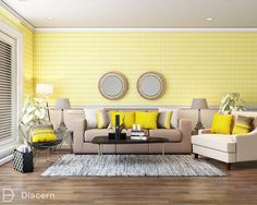 Think rich, creamy custard and you've got your Buttercup Yellow. Read more about the desert inspired interiors on our blog !  #buttercup #yellow #interiors #livingroom #discernliving