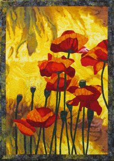 Red Poppies VII Original Art Quilt by Lenore Crawford