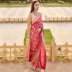 """""""The Kahana Saree"""" in rich pink and an embellished blouse ! Indian Engagement Outfit, Engagement Saree, Dresses For Engagement Party, Wedding Dresses, Dress Indian Style, Indian Dresses, Indian Outfits, Saree Designs Party Wear, Saree Blouse Designs"""